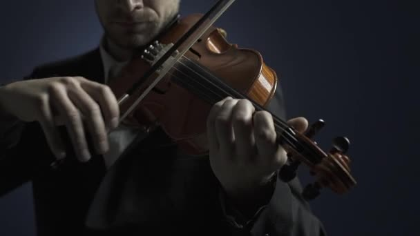 Professional musician playing violin on stage