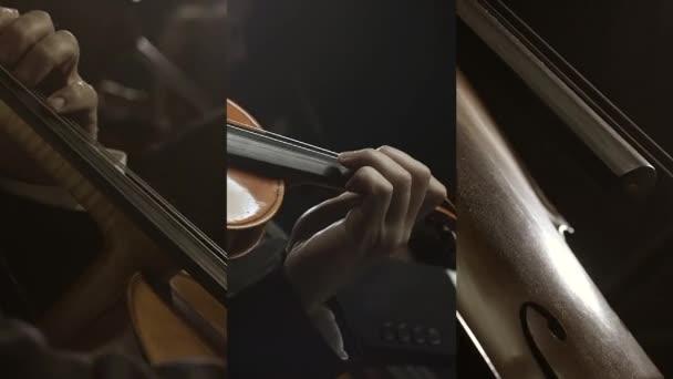 Szimfonikus zenekar a színpadon videómontázs