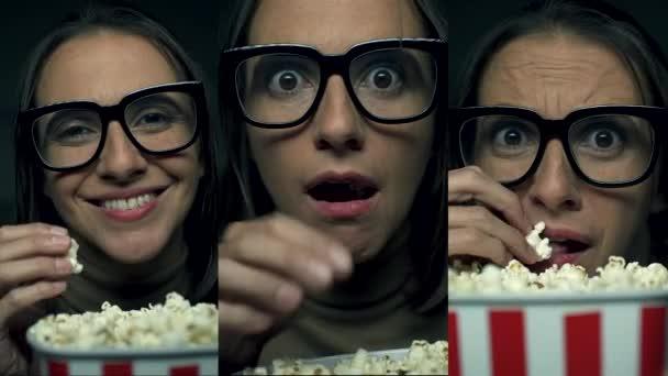 Frau schaut Filme und isst Popcorn