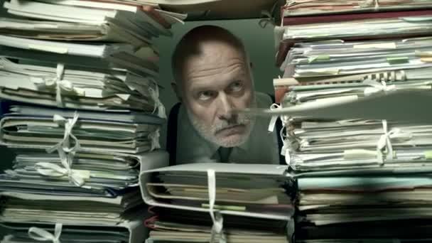 Office clerk working behind a wall of paperwork