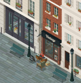 Traditional vintage shop exterior in the city street, isometric 3D illustration