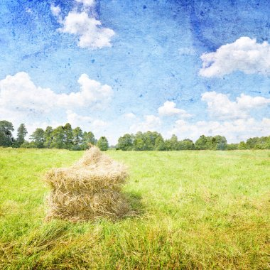 Summer landscape with haystack and blue sky- vintage style stock vector