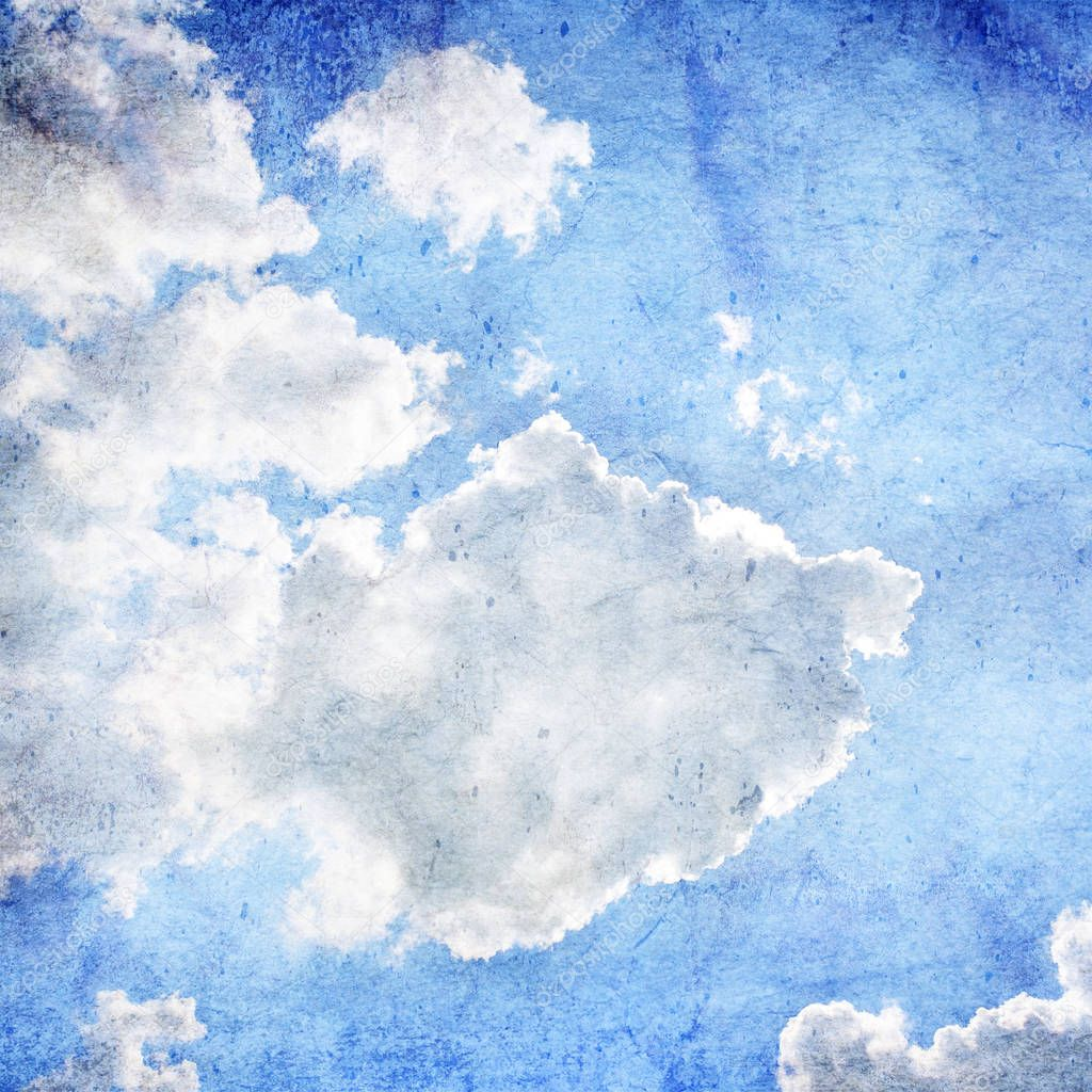 Blue summer sky with clouds and sun - vintage background