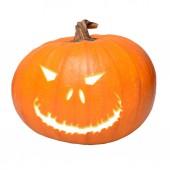 Fotografia zucca di Halloween isolato su sfondo bianco