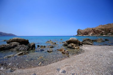 Beautiful mediterranean landscape with blue sea in Greece