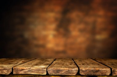 Empty brown wooden table background