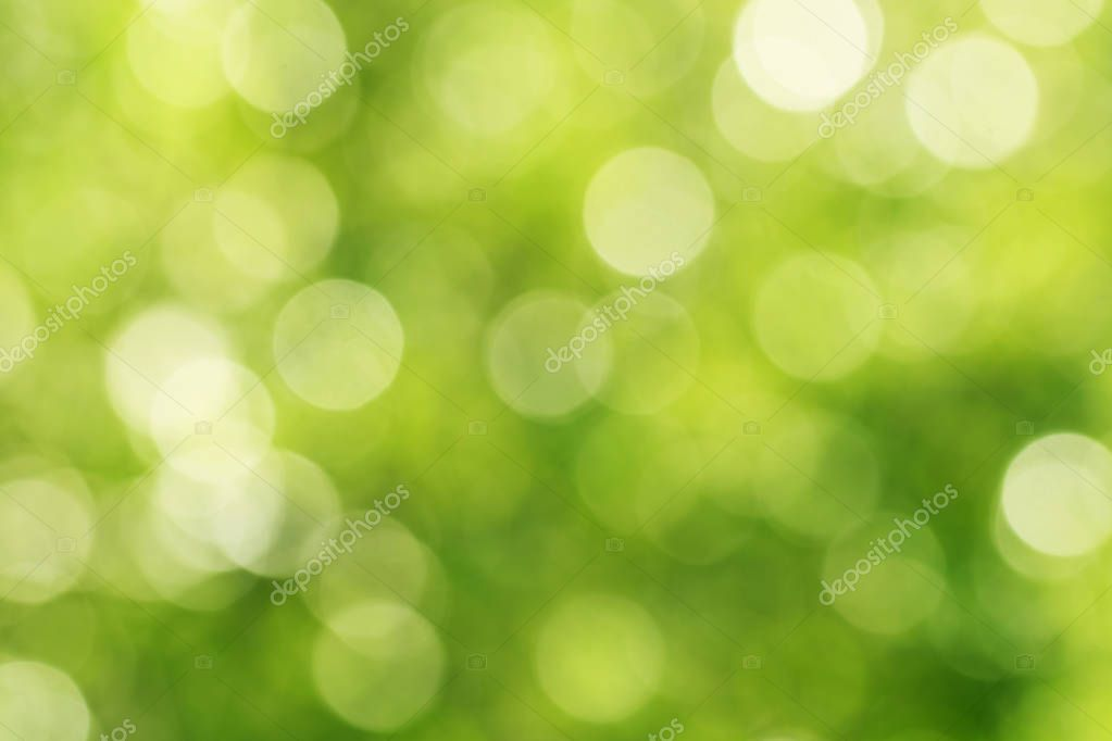 Green defocused abstract background with bokeh circles