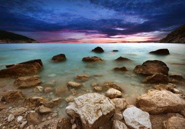 Landscape of sea shore - long exposure photo of shoreline stock vector