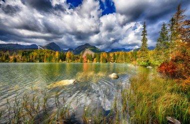 Autumn landscape of Strbskie Pleso in Slovakian Tatra mountains stock vector