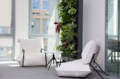 Modern office space - interior. Bright comfortable two armchairs, office room.