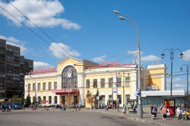 MOSCOW, RUSSIA - AUGUST 17, 2018: Savelovsky Railway Station building in Maryina Roshcha district. This station serves suburban directions north of city.