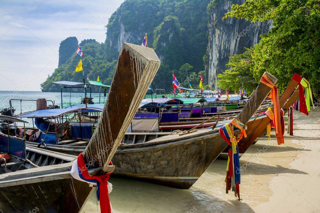 Long tail boats in Ko Hong Island, Thailand.
