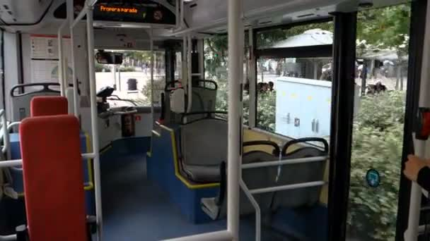 Empty seats in a Barcelona public bus during the day