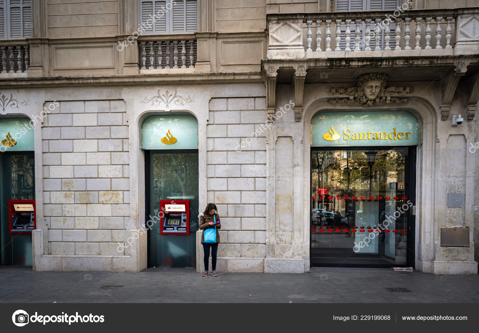 Barcelona, Spain - December 2018: Unnidentified person uses