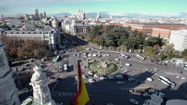 A légi felvétel a Cibeles-kút, a Plaza de Cibeles Madrid egy napsütéses napon