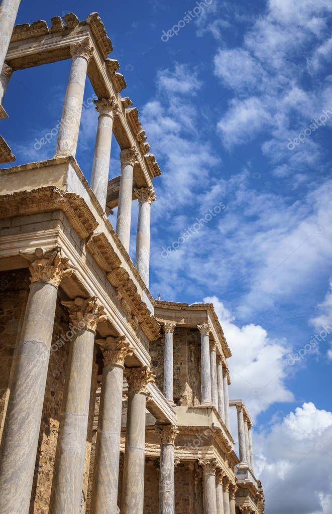 Scaenae frons of the Antique Roman Theatre in Merida, Spain.