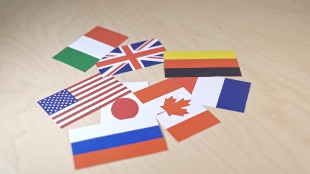 Vlajky zemí velké 7 nebo G7. Summit o ekonomickém politickém konceptu