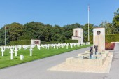 American WW2 Cemetery with memorial monument and fountain in Luxembourg