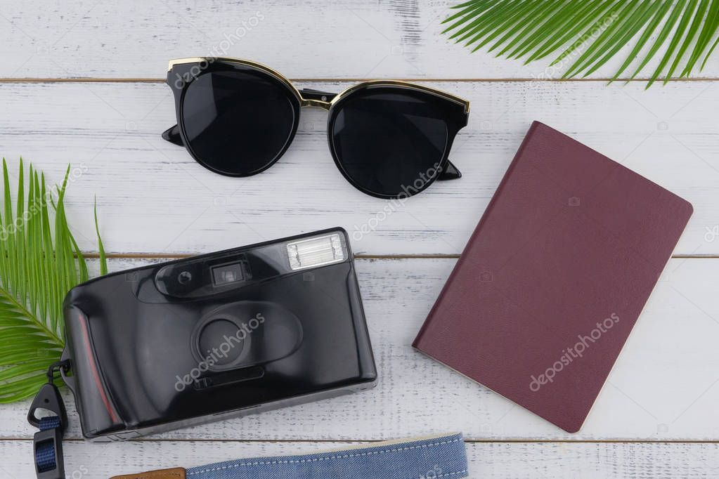 Sunglasses, film camera and passport with fern leaves on white wood background