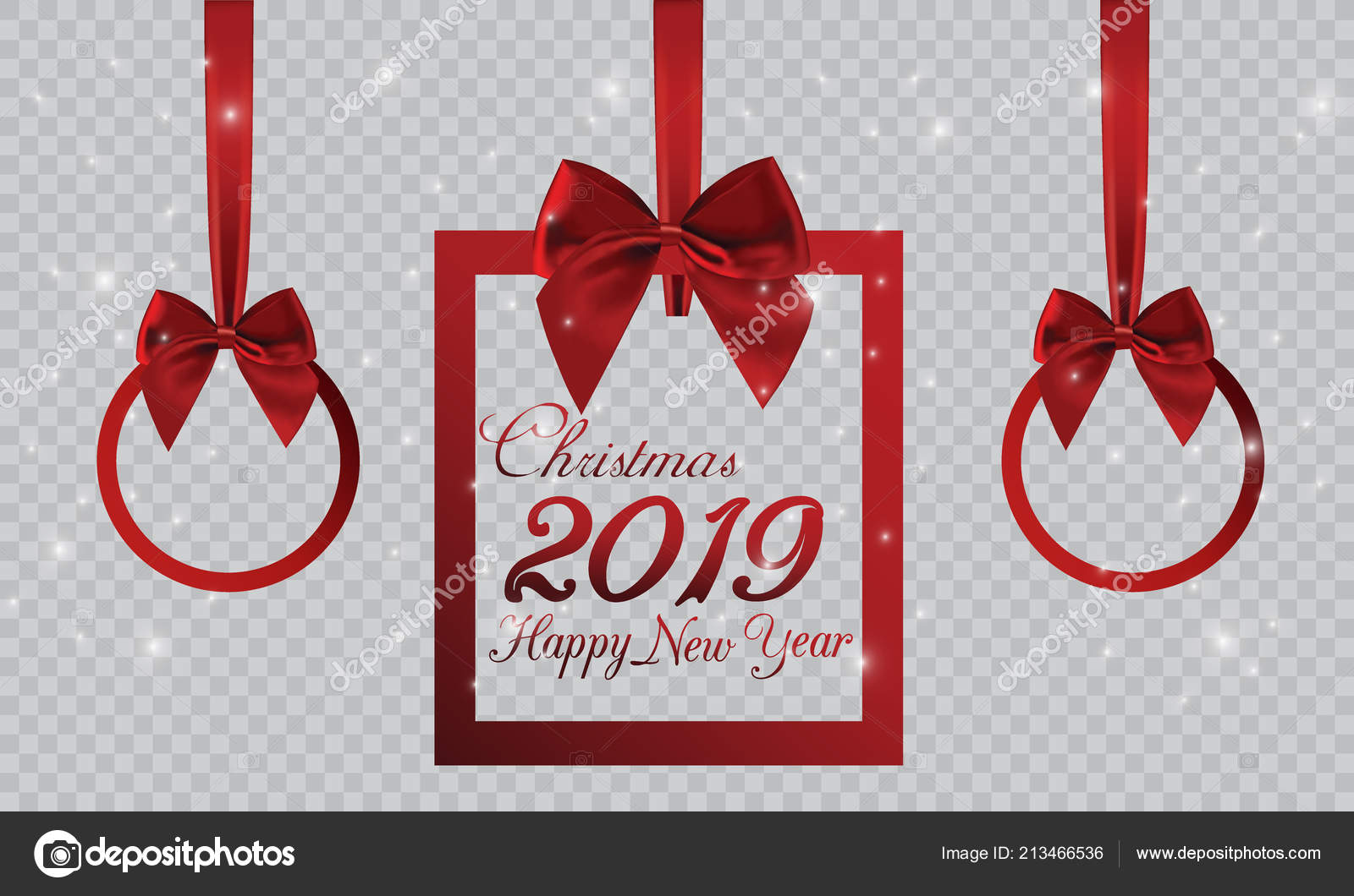 new year banner form christmas gift decorations red ribbon bow stock vector