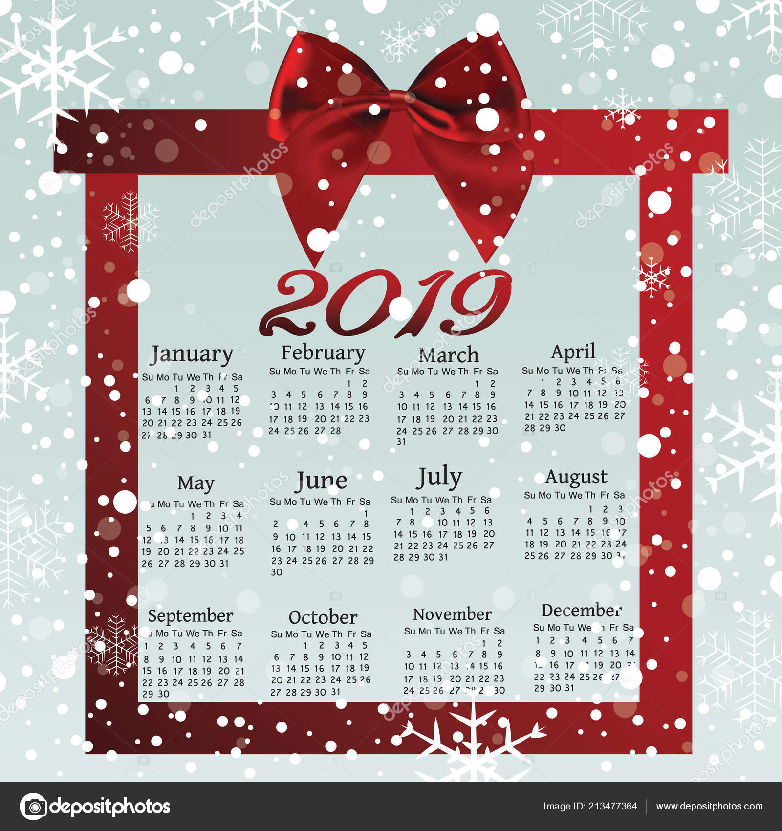 a calendar calendar for the new year a ribbon bow a new year banner in the form of a scroll for your concept greeting card brochure or banner template