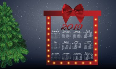 Calendar for the new year 2019, a beautiful red bow and bright lights. The radiance of light and celebration of the new year and Christmas.