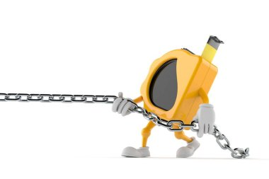 Measure tape character pulling chain isolated on white background. 3d illustration