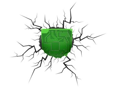 Circuit board inside cracked hole isolated on white background. 3d illustration