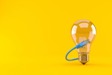 Light bulb with network cable isolated on orange background. 3d illustration
