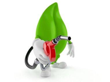 Leaf character holding gasoline nozzle isolated on white background. 3d illustration