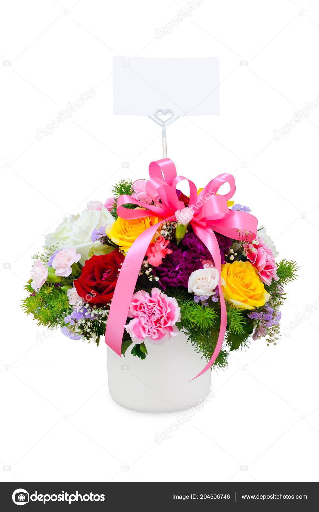 Flowers Bouquet Vase Isolated White Background — Stock Photo ...