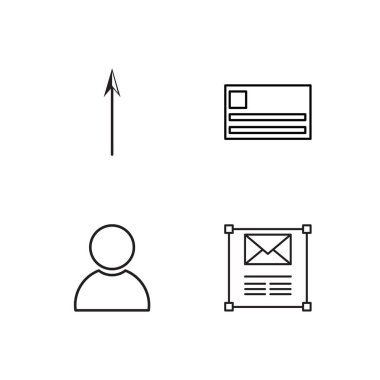 marketing simple outlined icons set