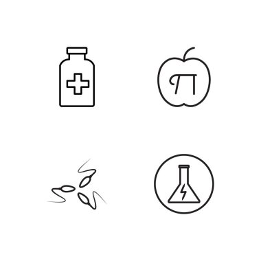 science simple outlined icons set