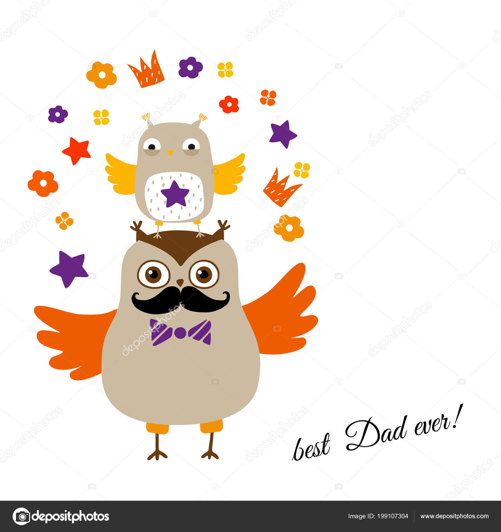 best dad card owls fathers day greeting card vector illustration
