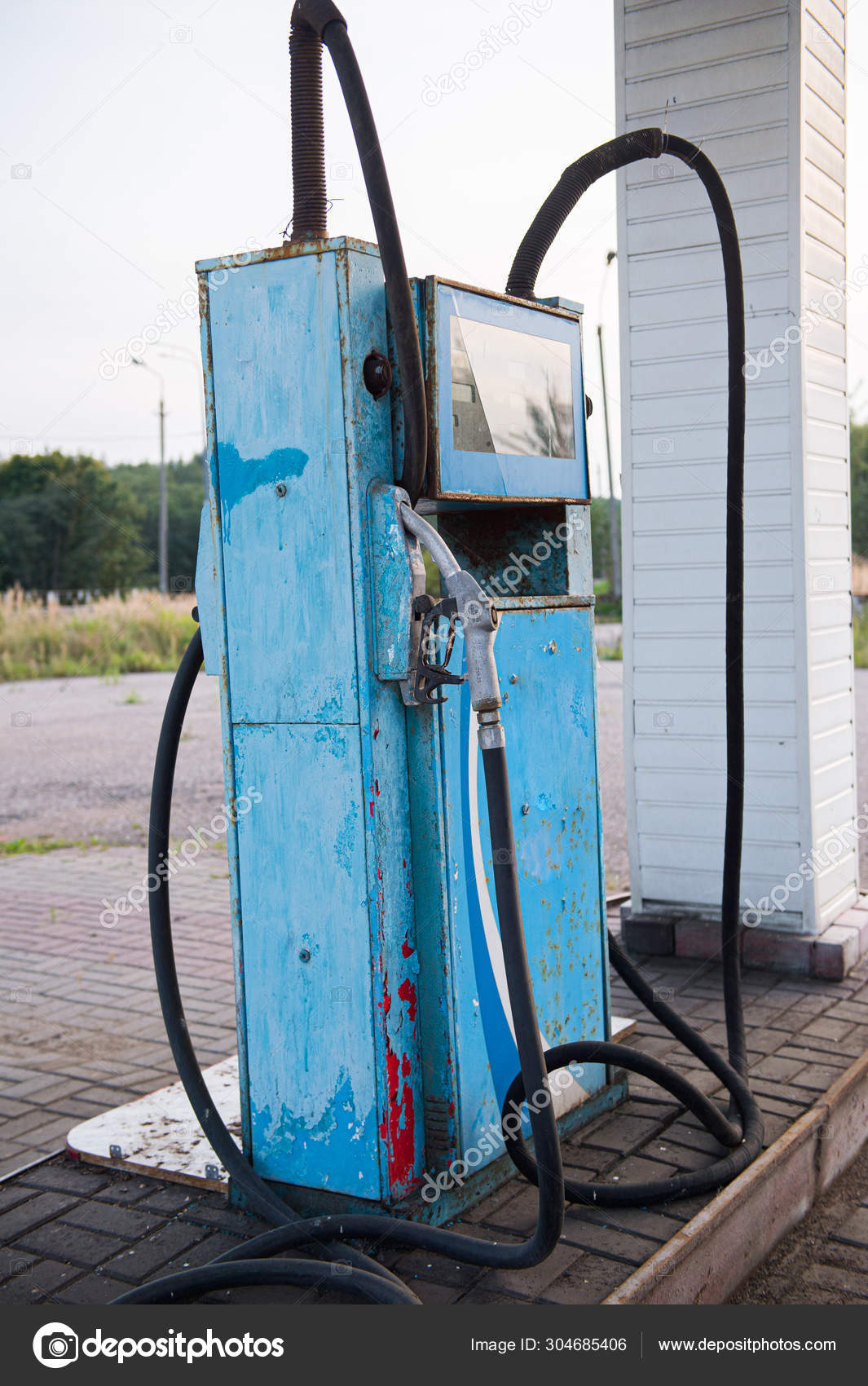 Old Abandoned Fuel Station Gas Station On Secondary Provincial Road Fuel Dispenser Is Broken Vintage Gasoline Column Oil Pollution Of The Earth Outdated Technology Stock Photo C Sergevo 304685406