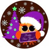Fényképek Aranyos bagoly narancs lila santa kupakot és a karácsonyfa gazdaságban névtábla szöveg boldog új évet