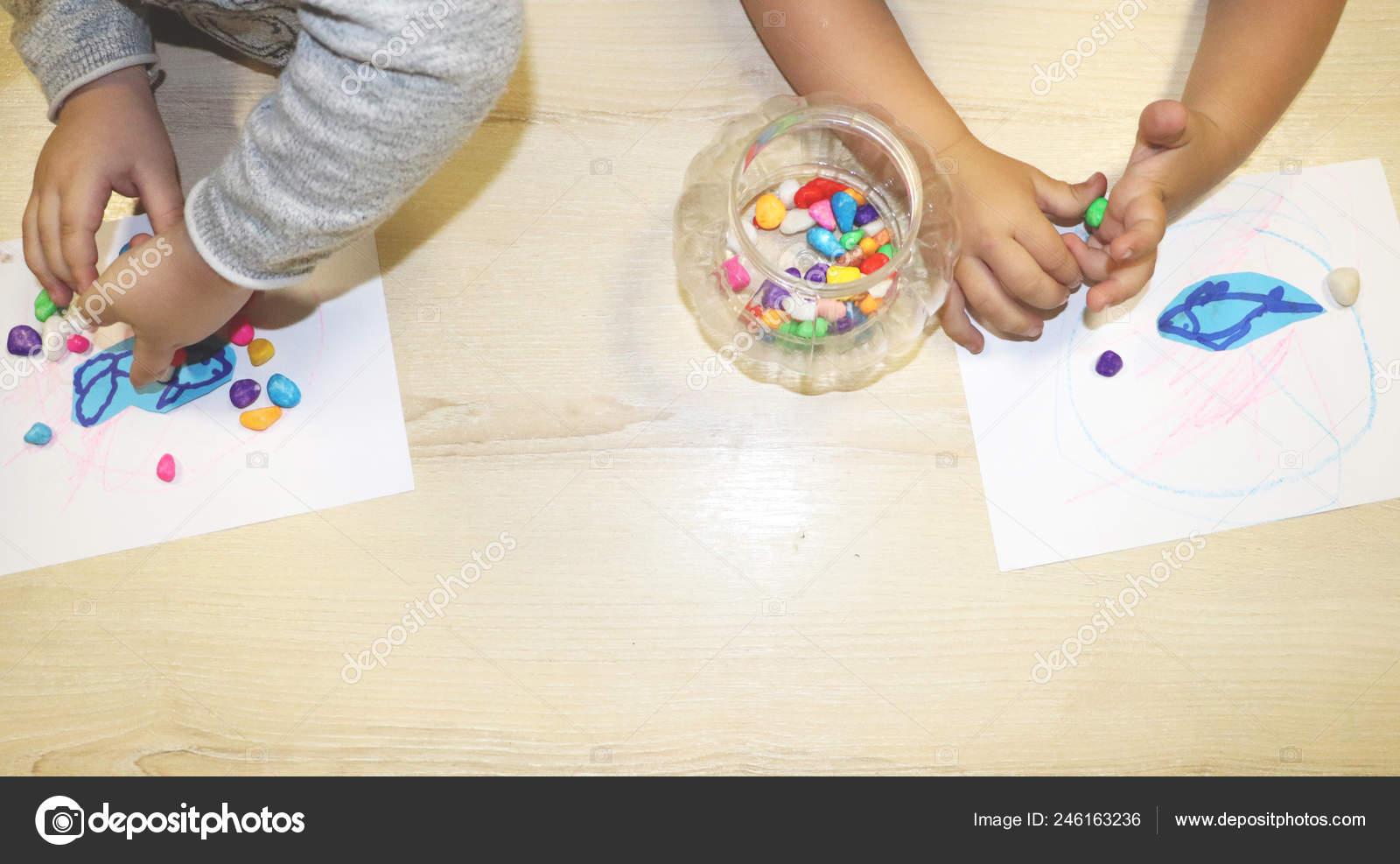 Kids Group Making Arts Crafts Kindergarten Children Spending Time