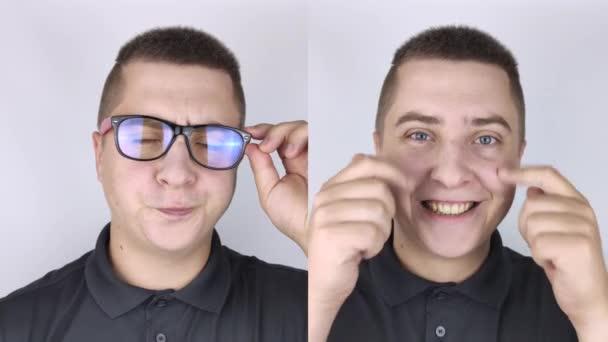 Ein Mann mit Brille davor und danach. Auf der einen Seite ist das Gesicht ohne Brille glücklich, auf der anderen ein trauriger Gesichtsausdruck mit Brille. Schlechtes Behandlungskonzept, Laser-Augenchirurgie, Linsenersatz