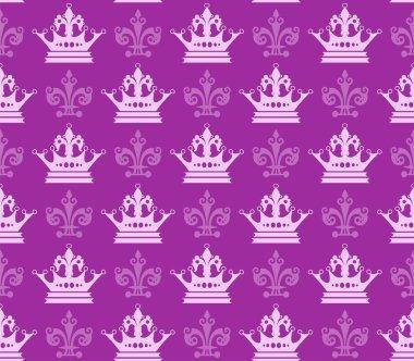 Purple background wallpaper seamless pattern. Background wallpaper in royal style for your design. Vector image