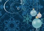 Vánoční koule na modrém pozadí se sněhovými vločkami. Vánoční přání-retro. Vektorová grafika