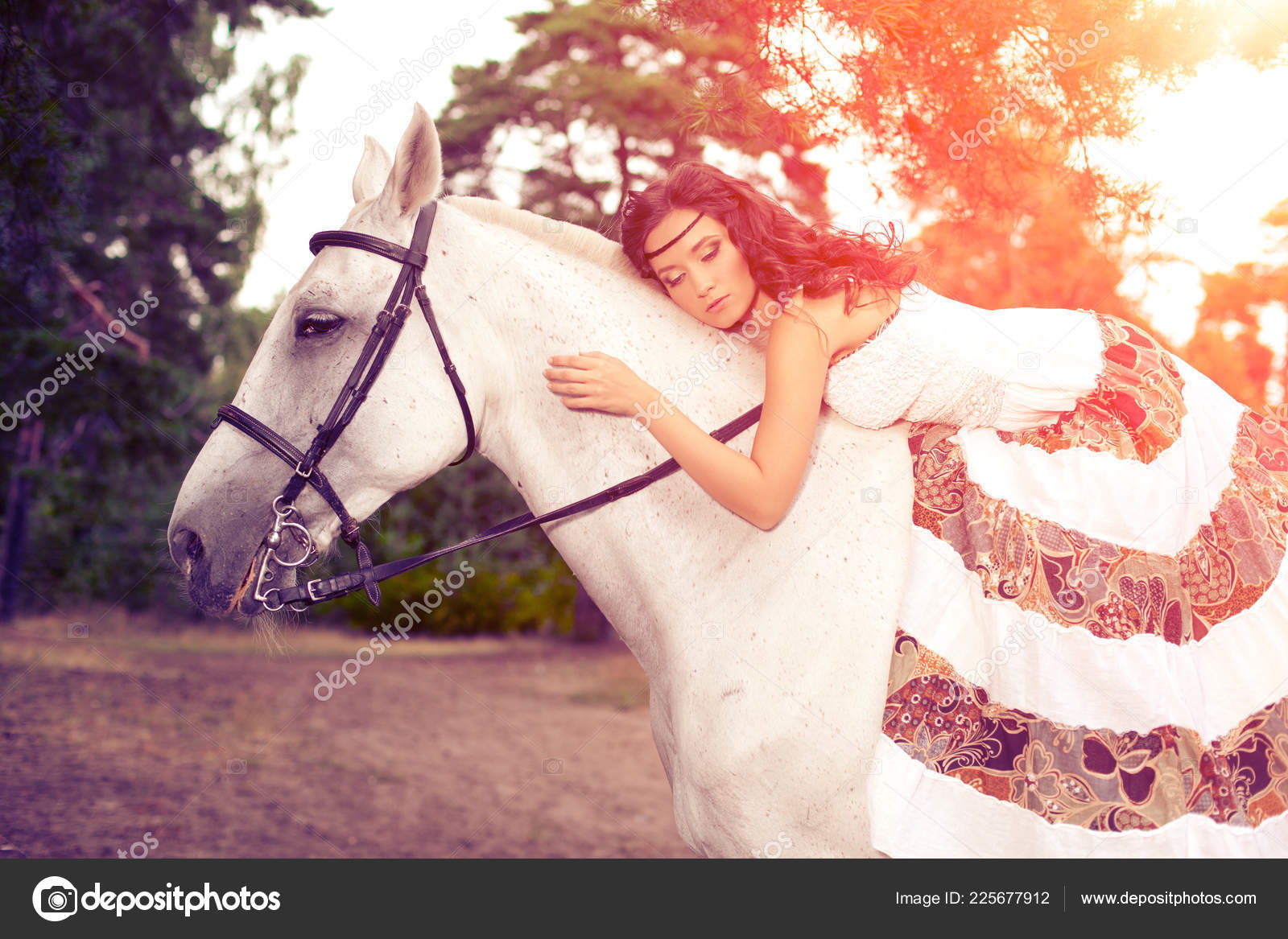 Beautiful Woman Horse Horseback Rider Woman Riding Horse Stock Photo C Miramiska 225677912