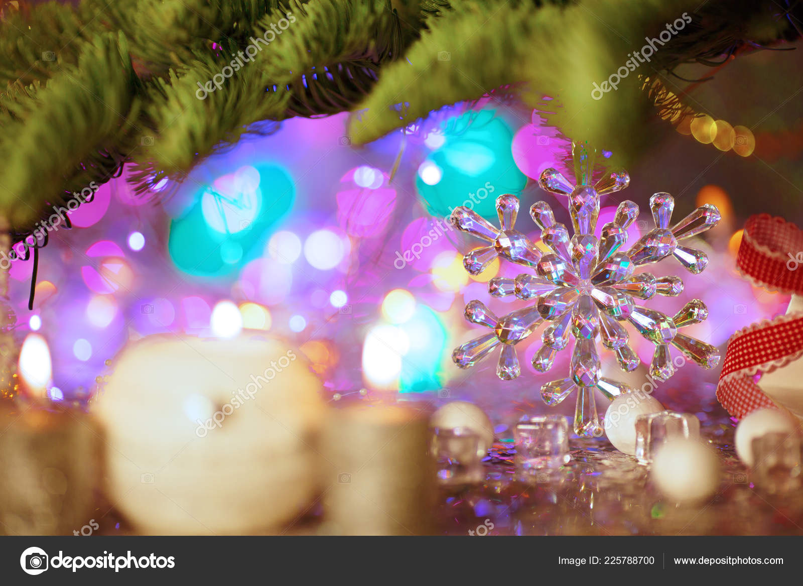 christmas card background theme new year party decorated fir tree stock photo