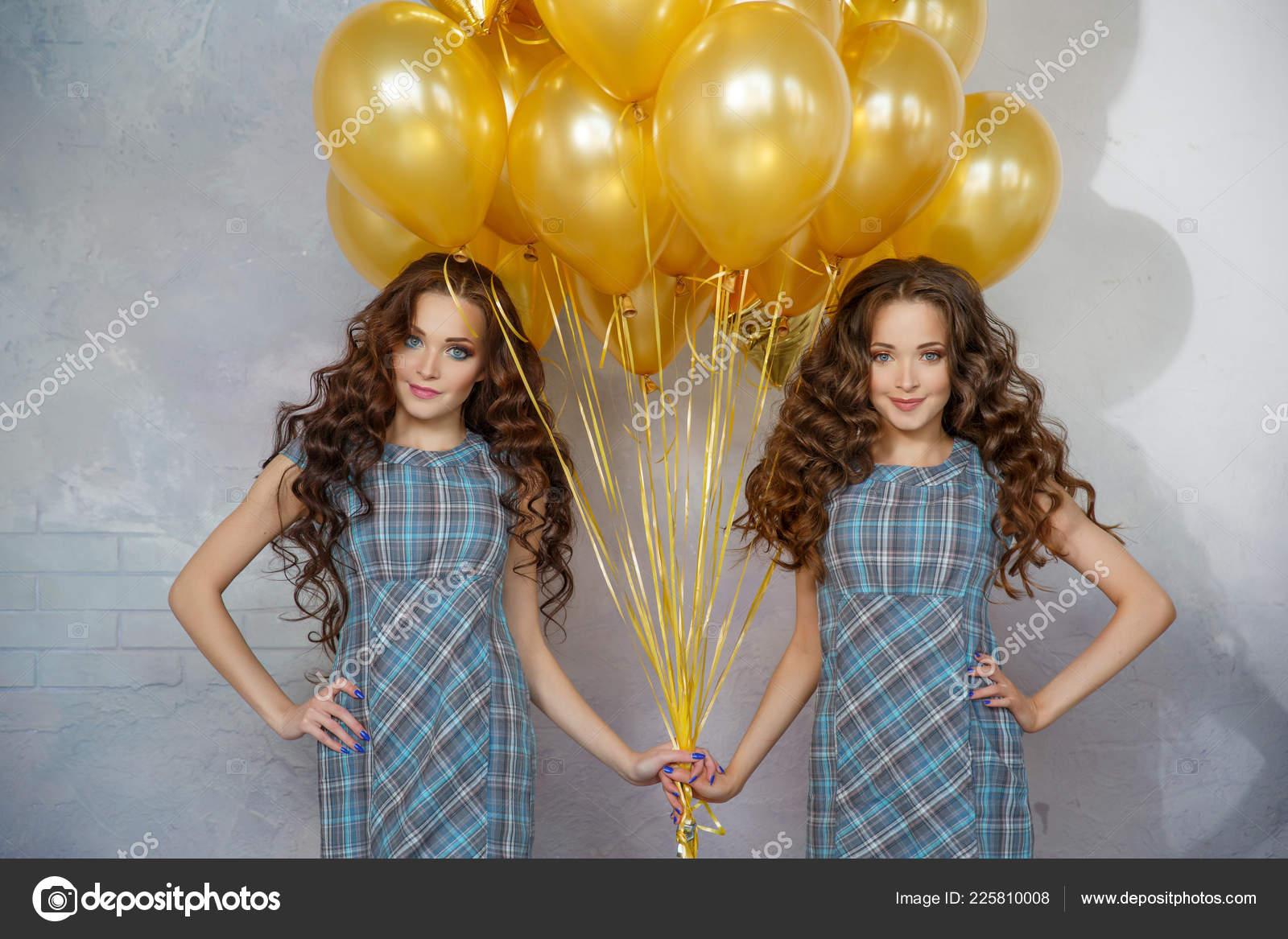 Fantastic Girls Twins Sisters Updo Hair Partyon Background Golden Balloons Schematic Wiring Diagrams Amerangerunnerswayorg