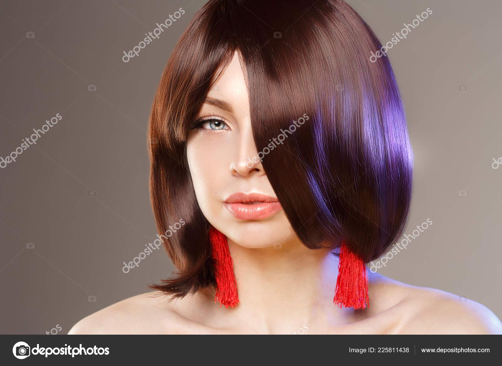Young Beautiful Woman Short Hair Short Fashionable Haircut Girl Updo