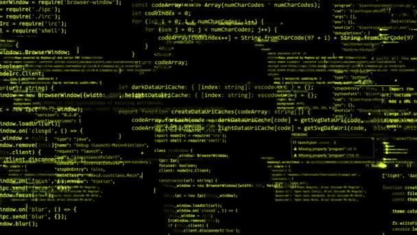 Kódblokkokat, absztrakt program írt, és költözött a virtuális térben. A kamera repül át a számítógépes kódot. végtelenített
