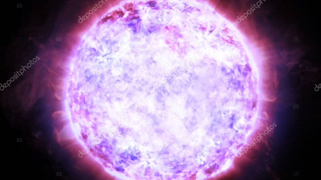 3D rendering of the evolution of stars. The surface of a massive neutron star with large-scale atmospheric disturbances and plasma outbursts