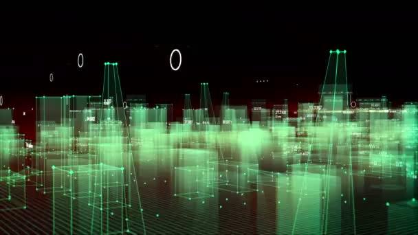 technologischer digitaler Hintergrund, bestehend aus einer futuristischen Stadt mit Daten. Schleife