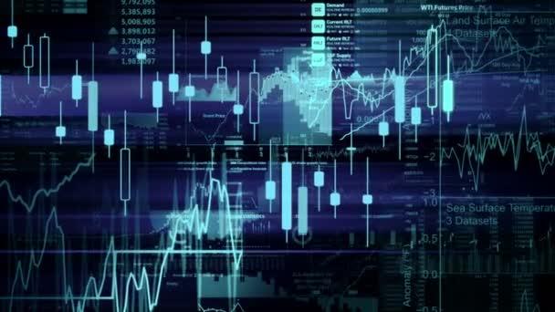 Die Aktienindizes bewegen sich im virtuellen Raum. Wirtschaftswachstum, Rezession. elektronische virtuelle Plattform, die Trends und Schwankungen am Aktienmarkt zeigt