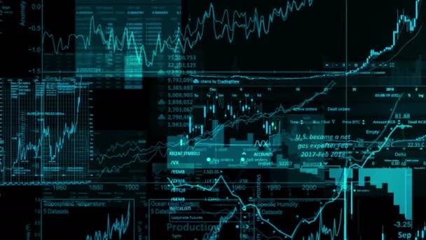 Burzovní indexy se pohybují ve virtuálním prostoru. Hospodářský růst, recese. Elektronické virtuální platforma trendů a výkyvy na akciovém trhu