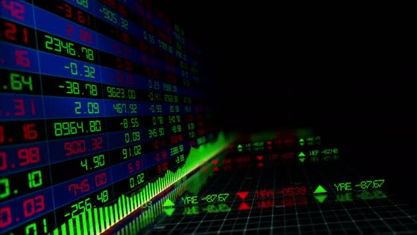 Stock market indices are moving in the virtual space. Economic growth, recession. looped